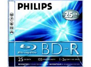 דיסקים לצריבה Philips BD-R BlueRay 25GB 2x 135min 5pc HDvideo