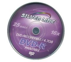 דיסקים לצריבה סילבר ליין Silver Line DVD-R X16 4.7GB 25pc