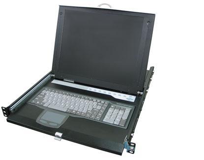 קופסת מיתוג לארון תקשורת מסך מקלדת ועכבר לארון תקשורת Rextron HKS-10 19'' 1U 17Inch USB