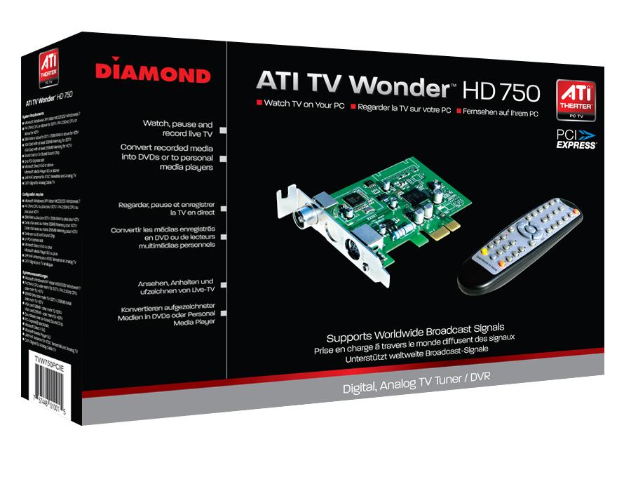 כרטיס טלוויזיה אנלוגי ודיגיטלי פנימי Diamond TV Tuner ATI Theater™ HD 750 MCE PCI-Express