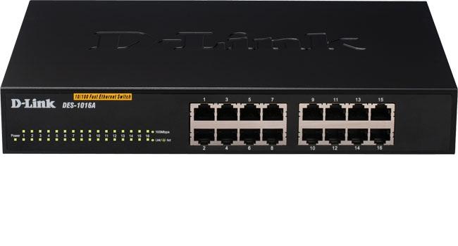 מתג לא מנוהל שולחני דילינק D-Link DES-1016A/E1B Ethernet Switch 10/100Mbps 16 Port