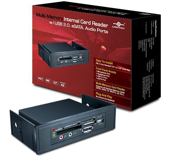 פאנל קידמי הרחבת התקנים וונטק Vantec UGT-CR960 Multi-Memory Internal With USB 2.0, eSATA, Audio Ports