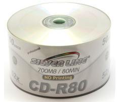 דיסקים לצריבה תקליטור חלק Silver Line CD-R X52 700MB 80m 50pc