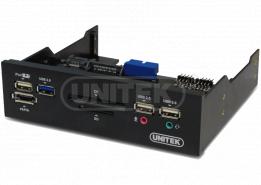 פאנל הרחבה קידמי קורא כרטיסים ומטען Unitek Y-3903 5.25'' USB3.0 Multi-Function Front Panel