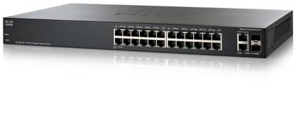 מתג סיסקו מנוהל גיגה 26 מבואות Cisco SG200-26P SLM2024T 26-port Gigabit PoE Smart Switch