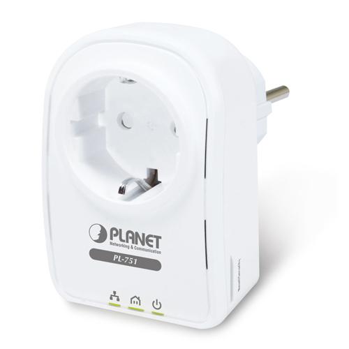 מתאם קווי רשת על גבי חשמל Planet PL-751-EU 500Mbps HomePlug AV, Extra Power Outlet, 128-bit AES, QoS (EU Type)