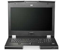 קופסת מיתוג לארון תקשורת כולל מסך HP TFT7600 G2 KVM Console Keyboard and Monitor (TFT7600 G2)Rack Mount 1U