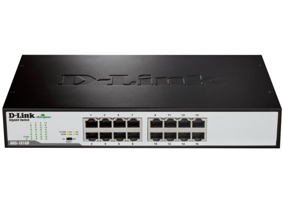 מתג דילינק ג'יגה שולחני לא מנוהל לארון תקשורת D-Link DGS-1016C16-port 1000Base-T 10/100/1000Mbps