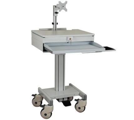 עמדת עבודה ניידת עגלה רפואית הידראולית למחשב נייד ומסך ישיבה עמידה כולל מגירה נשלפת למקלדת ועכבר ניהול כבלים וכיוון גובה GoldTop Tech Arm GT901DA