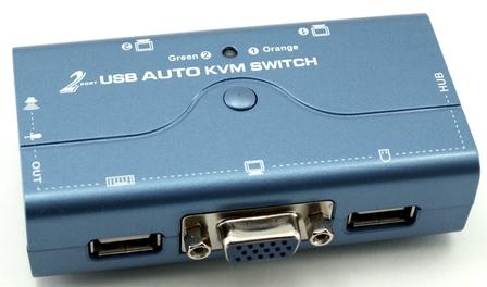 קופסת מיתוג 2 ערוצים כולל אודיו Gold Touch KVM USB-2 VGA Audio KVM