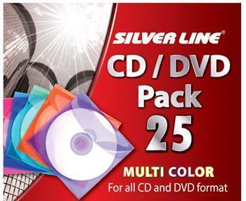 סט 25 מעטפות צבעוני לדיסקים סילבר לין Silver Line CD/DVD 25CD Pack For All CD and DVD Format Multi Color