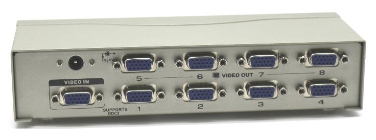 מפצל מסכים ספליטר מתכת 1/8 למסכים בו זמנית Gold Touch Video Splitter 1 TO 8 Port VGA 250MHz