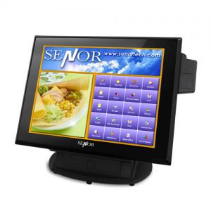 קופה רושמת ממוחשבת מסך מגע קורא כרטיסי אשראי Senor iCPOS 350 Monitor Celeron 1037U Dual Core 1.8Ghz 15'' Touch TFT LED 2GB RAM 32GB SSD