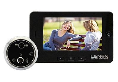 מצלמת אבטחה לדלת עינית דיגיטלית הקלטת תנועה 36 סוגי צלצולים Lenon Security Solutions 2Mega Pixel LCD 4.3Inch