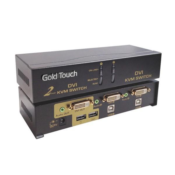 קופסת מיתוג דיגיטלית 2 ערוצים גולדטאץ' Gold Touch KVM-DVI-2 2Port 1920x1200 DVI KVM Switch