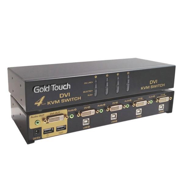 קופסת מיתוג 4 ערוצים Gold Touch KVM-DVI-4 4Port DVI KVM Switch