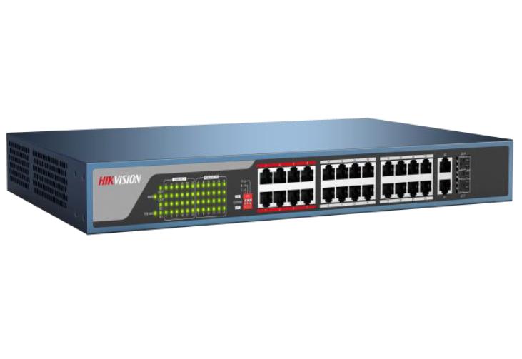 מתג שולחני / ארון תקשורת היקוויז'ן Hikvision DS-3E0326P-E 26ports 100Mbps Unmanaged PoE Switch