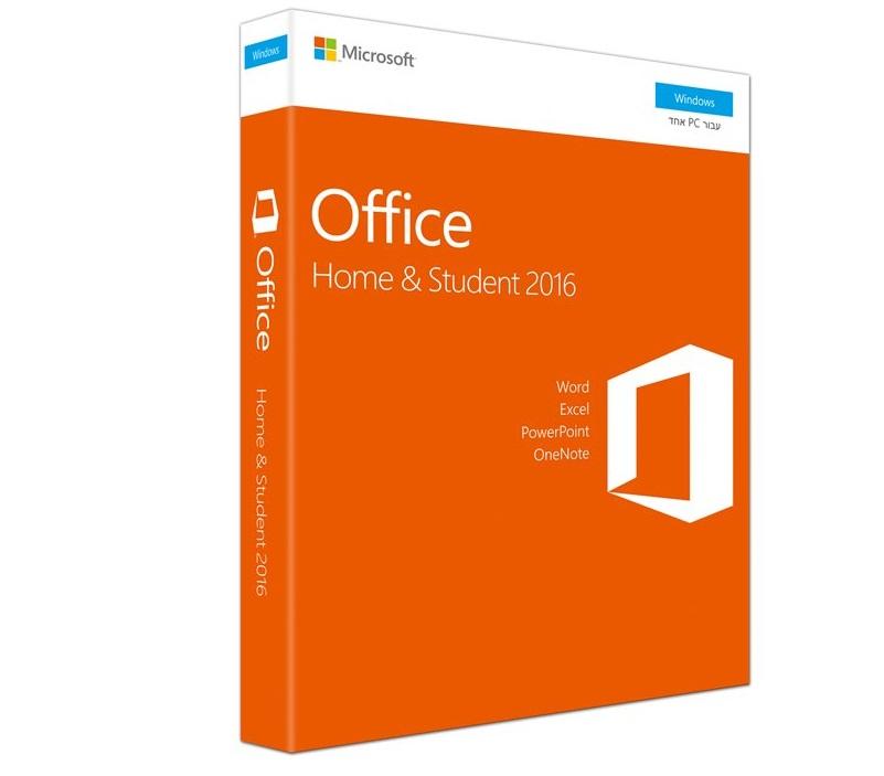 תוכנת מיקרוסופט אופיס סטודנט עברית Microsoft Office Home & Student 2016 Hebrew Medialess