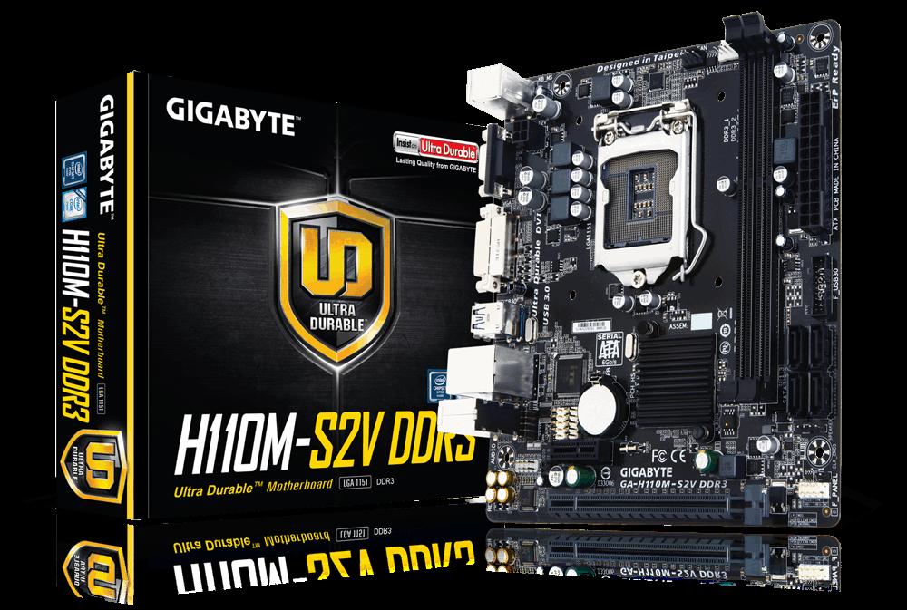 לוח אם ג'יגהבייט עודפי מלאי Gigabyte GA-H110M-S2V DDR4 Socket 1151 Intel H110