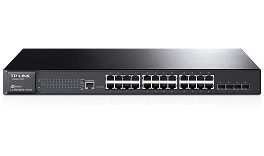 רכזת רשת מתג 24 ערוצים 10/100/1000 TP-LinkT2600G-28TS (SG3424) JetStream 24-Port Gigabit L2 Managed Switch with 4 SFP Slots