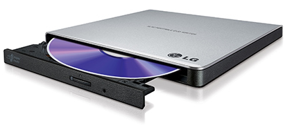 צורב חיצוני DVD חיצוני דק אל.ג'י LG GP57ES40 External DVD+\-RW Ultra Portable Slim DVD-RW USB Silver