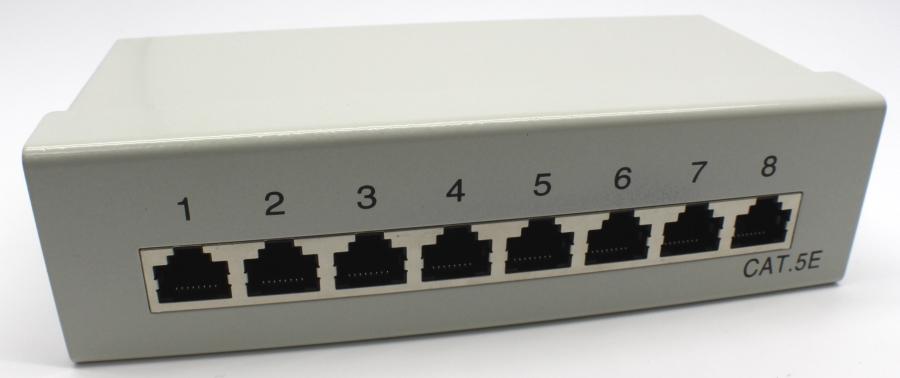 פאנל תקשורת 8 מחברים מסוכך מלא Oem DT608F-BT CAT6 8 Port Gigabit Patch Panel
