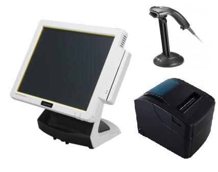 באנדל הכולל קופה רושמת ממוחשבת מסך מגע וצג לקוח VFD קורא כרטיסי אשראי +מגירה+מדפסת+סורק ברקוד OKPOS Z-1500 15'' Touch Monitor Intel Dual Core J1900 2.42GHz 2GB RAM 64GB SSD Win7