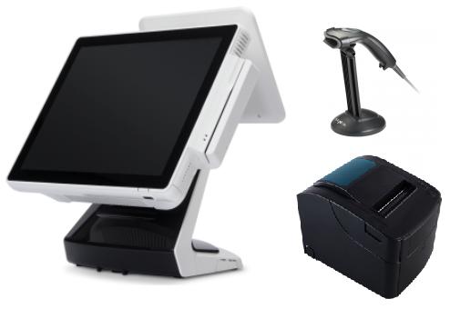 באנדל הכולל קופה רושמת ממוחשבת מסך מגע וצג לקוח VFD קורא כרטיסי אשראי +מגירה+מדפסת+סורק ברקוד OKPOS Z-9000 15'' Touch Monitor Intel Dual Core J1900 2.42GHz 2GB RAM 64GB SSD Win7