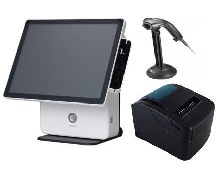 באנדל הכולל קופה רושמת ממוחשבת מסך מגע קורא כרטיסי אשראי +מגירה+מדפסת+סורק ברקוד OKPOS K-9000 15'' Touch Monitor Intel Dual Core i3 2GB RAM 64GB SSD Win7