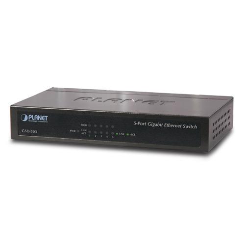 מתג לא מנוהל שולחני5 ערוציםPlanet GSD-503 5-port 10/100/1000Mbps