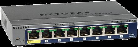 מתג שולחני ג'יגה 8 ערוצים נטגיר NETGEAR GS108Tv2 8 PORT Gigabit Smart Switch
