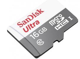 כרטיס זיכרון סאן דיסק SanDisk SDSQUNS-016G-GN3MN Ultra Android microSDHC 16GB 80MB/s Class 10