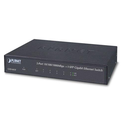 מתג לא מנוהל שולחני 5 ערוצים Planet GSD-603F 5-port 10/100/1000Mbps