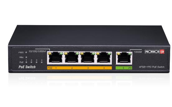 מתג שולחני 5 פורטים ג'יגהביט פרוויז'ן Provision PoES-0460G+1G(HPD) 10/100/1000Mbps PoE 4+1 Switch