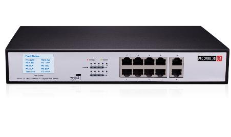 מתג שולחנימתאים לארון תקשורת 10 פורטים ג'יגה פרוויז'ן Provision POES-08130GC+2G 8Port 10/100/1000Mbps +2Port 1Gbps PoE Switch