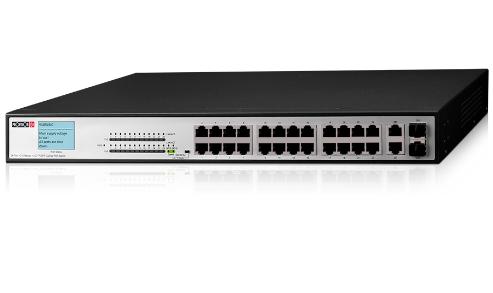 מתג שולחני 26 פורטים לארון תקשורת פרוויז'ן Provision PoES-24380C+2 Combo 24+2-Port 10/100Mbps PoE Switch