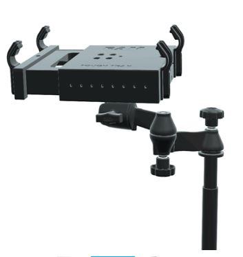 זרוע ארגונומית טלסקופית לרכב כולל ראש כדורי 360 מעלות - מעמד לחיבור מחשב נייד/מסך ברכב RAM Reverse Configuration Universal No-Drill™ Laptop Mount