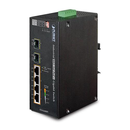 מתג שולחני 4 פורטים Planet IGS-624HPT Industrial 4-Port 10/100/1000T 802.3at PoE+ w/ 2-Port 100/1000X SFP Ethernet Switch