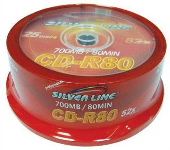 דיסקים לצריבה סילבר ליין Silver Line CD-R X52 700MB 80m 25pc