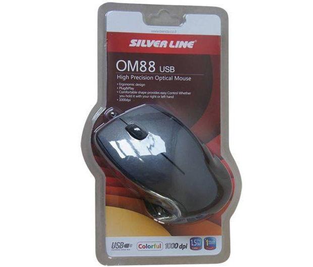 עכבר אופטי חוטי סילבר-ליין שחור Silver Line OM88 USB 1000dpi Black