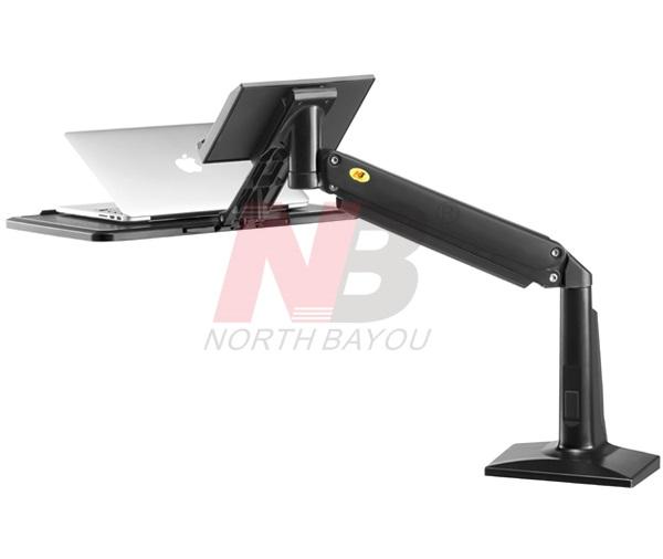 זרוע ישיבה עמידה הידראולית למחשב נייד נצמד לשולחן (אפשרות הברגה) מתאים לנייד 11-17 אינצ' NB FB17-B Sit-Stand Laptop Workstation Black