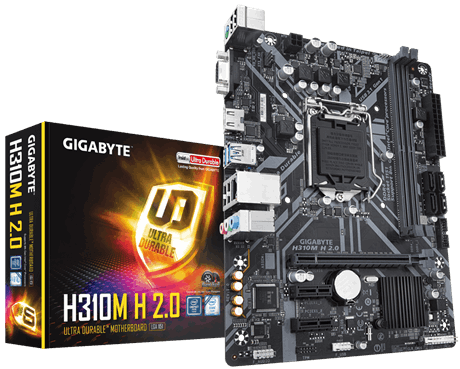 לוח אם ג'יגהבייט דור 8 ו 9 Gigabyte H310M H 2.0 Intel H310 Chipset Socket 1151 DDR4