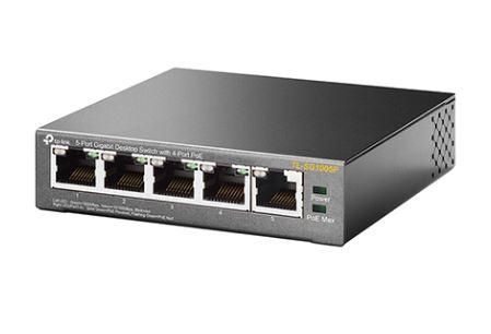 מתג שולחני 5 פורטים ג'יגה Tp-link TL-SG1005P 5-Port Gigabit Desktop Switch with 4-Port PoE