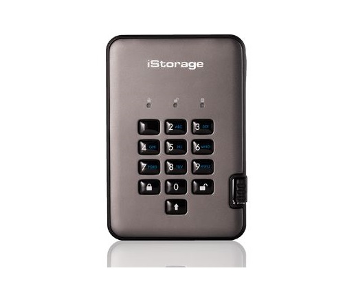 דיסק חיצוני מוצפן iStorage IS-DAP2-256-1000-C-G External 2.5'' Pro2 Disk 256bit Encrypted 2TB USB 3.1