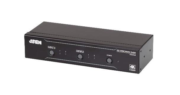 קופסת מיתוג 2 ערוצים לשתי מחשבים עם 2 צגים Aten VM0202H 2x2 k4 HDMI Matrix Switch