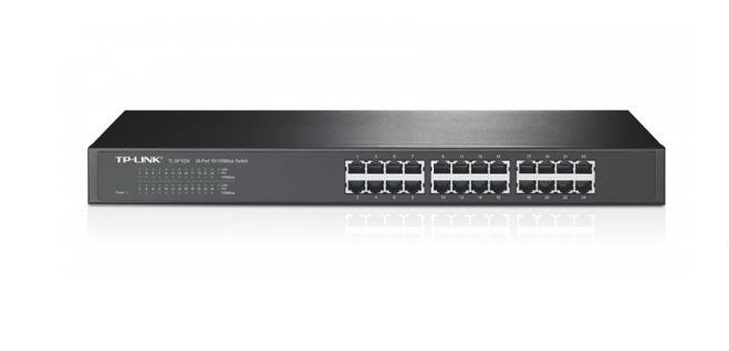 מתג לא מנוהל לארון תקשורת 24 פורטים TP-Link TL-SF1024 24-Port 10/100Mbps Rackmount Switch
