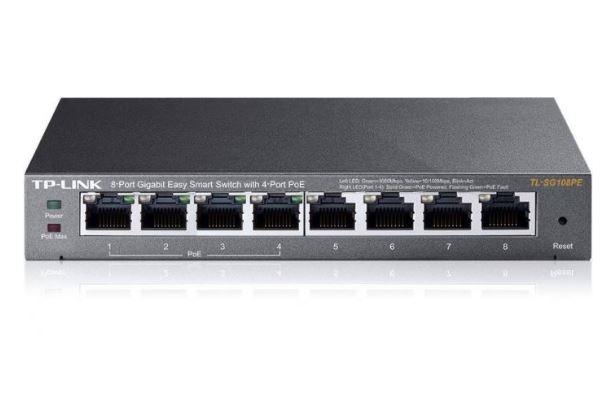מתג שולחני 8 פורטים Tp-link TL-SG108PE 8-Port Gigabit Easy Smart Switch with 4-Port PoE