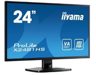 מסך מוניטור מקצועי IIYAMA X2481HS-B1 Monitor 23.6'' Full HD ProLite VA Matrix 6ms VGA DVI HDMI Speakers 6ms 1:3000