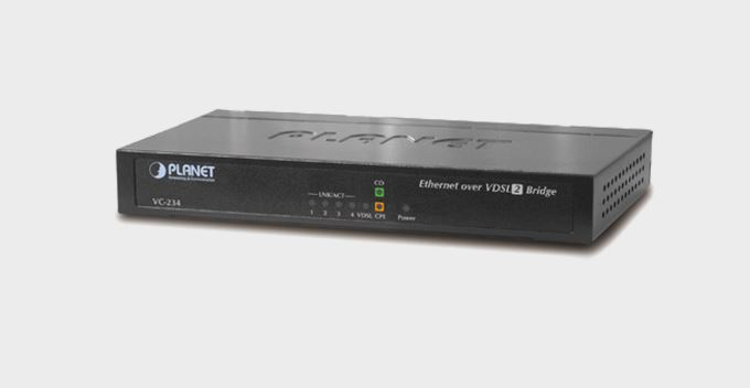 מודם מתאם רשת על גבי קוי טלפון Planet VC-234 1-100/100 Mbps Ethernet (4-Port LAN) to VDSL2 Bridge - 30a profile