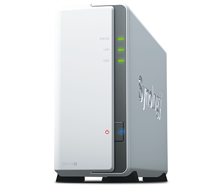 שרת אחסון וגיבוי סינולוג'י Synology DiskStation DS119J NAS Server Marvell Armada 3700 88F3720 Dual Core 800 GHz 256MB RAM 1 Drive Bays up to 14TB(14TBx1) USB3.0 eSATA